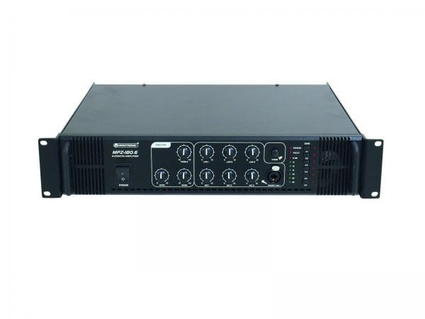 OMNITRONIC MPZ-180.6 Monialue mikserivahvistin 100V järjestelmiin. 6-aluetta 180W, ulostulot 70V, 100V tai 4-16 ohmia, eli toimii myös normaaleilla kaiuttimilla. . PA mixing amplifier. 6-zone PA mono mixing amplifier. Joka paikan yleiskone.