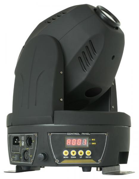 POISTO BEAMZ MHL-60 Moving Head 60W RGB LEDillä, Poisto 1kpl! 6 pyörivää goboa, Prisma, Mini LED Moving Head Spot Black!Pienikokoinen moving head 60W ledillä, 6 pyörivää goboa sekä avoin.  RGB 60W led kykenee tuottamaan todella tehokaan valonsäteen, joka soveltuu musiikkibaareihin, clubeihin, pieniin discoihin sekä DJ keikoille. Voidaan käyttää 12 DMX kanavan moodissa. Laitteessä stand alone musiikkiohjaus, eli toimii myös ilman ohjainta!  Valon aukeamiskulma on 13 astetta, joka on normaali tämän tyyppisille valoille. Laite voidaan asentaa tasolle, kattoon tai seinään. Manuaalinen tarkkuuden säätö, kevyt ja kestävä muovirunko, todella upea myös näyteikkunassa. Varustetu prisma efektillä.Mitat 265 x 260 x 315mm  sekä paino 7.5kg.