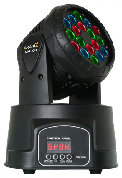 BEAMZ MHL-108 Mini Moving Head 18x 3 W R, discoland.fi