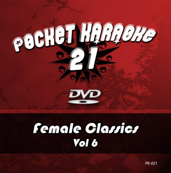 POISTO Pocket Karaoke Vol 21 - Female Classics Vol 6 Karaoke DVD sisältää kappaleet: 1. IT'S RAINING MEN - THE WEATHER GIRLS