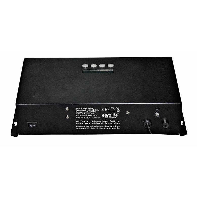 EUROLITE AT-DIMM 8 DMX LED-himmennin DC 24V/6A. LED-toimintonäyttö ja ohjauspaneeli laitteessa, staattiset värit 7 kpl, RGB-värisekoitukset, automaattinen värienvaihto, sisäänrakennetut ohjelmat, himmentimen nopeus säädettävissä, strobe-efekti, ääniohjauksen herkkyys säädettävissä, DMX-ohjaus tai stand-alone, master/slave. 8-channel dimmer for 24 V operation. For example LED Strips and LED LMCP Panels