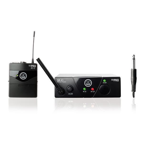 AKG> BUNDLE WMS 40 SPORT Mini Headset langaton bundle mikrofonijärjestelmä, HT 40 MINI taskulähtetin, SR 40 MINI vastaanotin ja instrumenttikaapeli taskulähettimen sekä intrumentin väliin ja C544 headset mic. Nyt pläjähti AKG:ltä taas ratkaisu siihen langattomien kuumimpaan sarjaan! Langaton radiotaajuuksilla toimiva mikrofonisetti, joka soveltuu tiskijukalle, juontajalle tai vaikkapa karaokeen. Tarvitset lisäksi audiokaapelin mikrofonin kytkemiseksi äänentoistoon, ulostulo 6,3mm jack plugilla naaras. Pitkä toiminta aika yhdellä paristolla, jopa 30 tuntia.voidaan myös käyttää ladattavia paristoja AA!