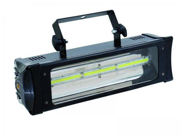 EUROLITE LED Strobe COB PRO DMX, ääniohjauksella! Todella tehokas!Tehokas valkoisilla LEDeillä oleva strobo 3x 3W! Saat tästä laitteesta helposti musiikin mukaaan (sisäinen mikrofoni) sykkivän strobovalon tai DMX ammattivehkulan. mitat 380 x 120 x 180 mm sekä paino 1.8kg.