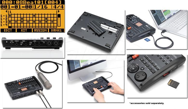 ZOOM R8 Moniraitatallennin ja 8-raituri, SD-muistikorttitoiminen!Moniraituri ja USB-äänikortti yhdessä paketissa. R-sarjan pikkuvelimalli sisältää kaksi sisääntuloa (XLR-combo) ja laitteella voi taltioida yhteensä kahdeksan raitaa.Mukana on rumpukone, efektiprosessointia ja sämple-play -mahdollisuus. Sen avulla laitteen kahdeksan raitaa voidaan ahtaa täyteen taustanauhamatskua ja käyttää yhtä raidoista esimerkiksi vain rumpalin kuultavaksi klikkiraidaksi.