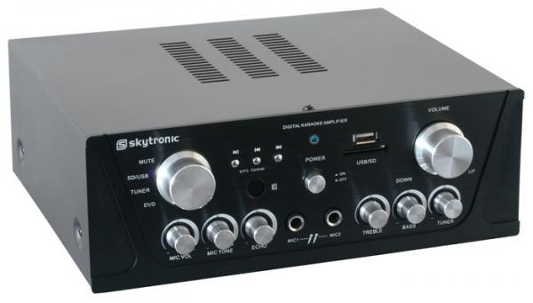 SKYTRONIC VV-1 Vahvistin musta USB & SD , discoland.fi