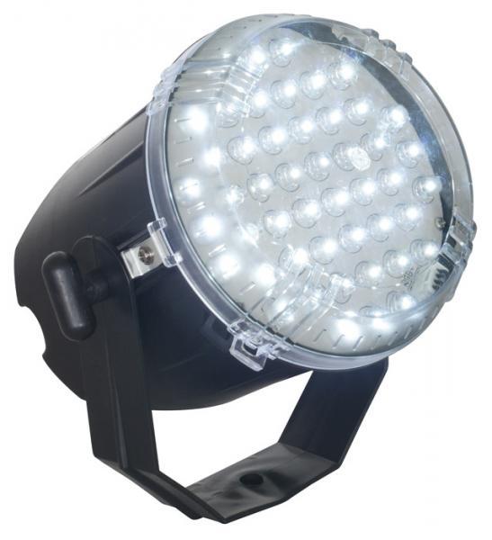 BEAMZ LED strobe valkoisilla 48x 8mm LEDeillä! tehokas pikku strobo valoefekti valkoisilla ledeillä. Sisäänrakennettu mikki, eli musiikkiohjattu. Mitat 200 x 180 x 140mm sekä paino 0,59kg.