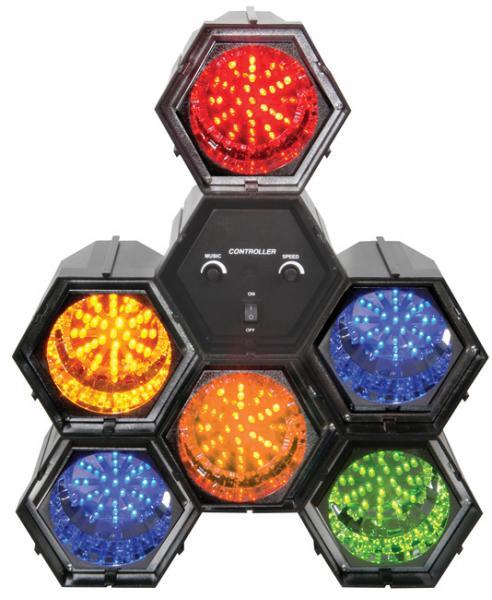 BEAMZ LED-6-kanavainen LED-valourku on hauska valoefekti kotiin tai firman bileisiin, laite on helppo ottaa käyttöön ja portaattomalla musiikkiohjauksen säädöllä saat valot vilkkumaan musiikin tahtiin jokaisessa tilanteessa. Setti on kasattu moduuleista, joten lamput on helppoa irroittaa toisistaan ja suunnata sen jälkeen haluamiinsa kohteisiin. 282 Lediä, mitat 360 x 350 x 140mm sekä paino 2,3kg.