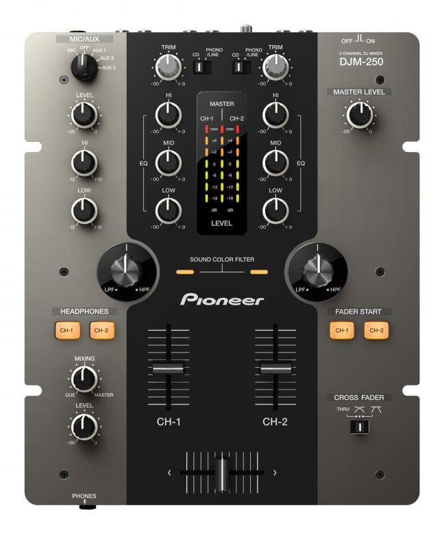PIONEER <b>B-STOCK!!!</b>DJM-250 Musta mikseri, DJM-250-mallissa on huippuluokan klubituotteille tyypillisiä ominaisuuksia, kuten tehokkaita, luovia erikoisominaisuuksia, sekä uusia ainutlaatuisia ominaisuuksia, PRO-DJ-Tuote!
