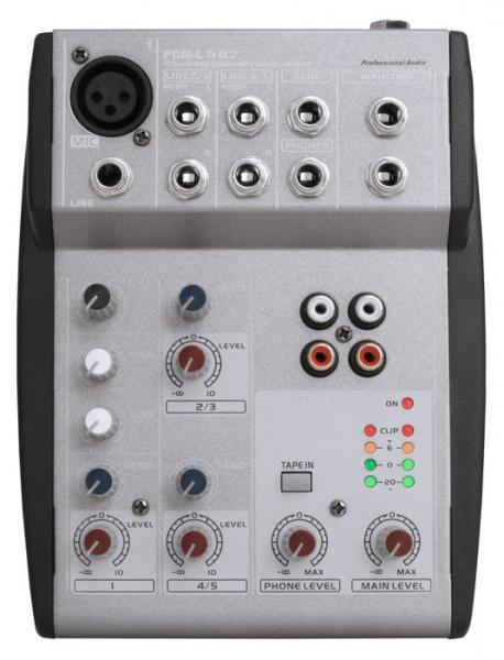 POWERDYNAMICS PDM-L502 Pikku Mikseri yhdellä mikrofoni sisäänmenolla sekä 2 kpl stereo line, Music Mixer 5 channels!