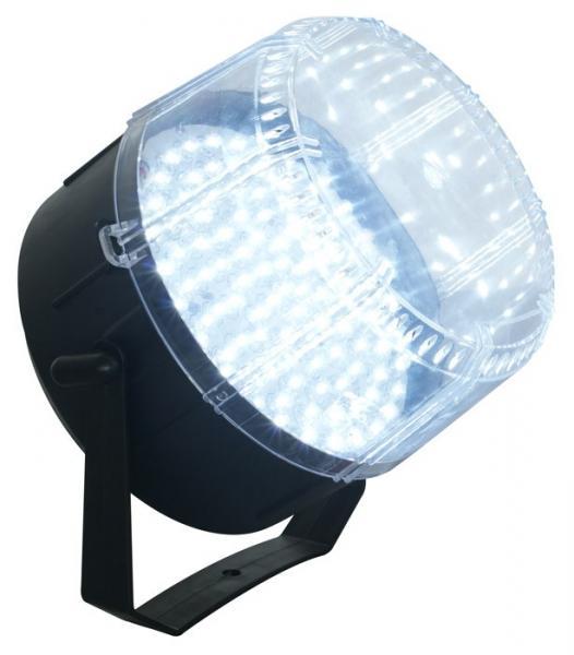 BEAMZ LED strobe ISO valkoisilla 100x 8mm LEDeillä, ääniohjauksella! Tämä laite on helppo ottaa mukaan keikalle tai kiinnittää kiinteään asennukseen. Voidaan laittaa musiikin mukaan tai manuaaliselle nopeudelle. Mitat 200 x 195mm sekä paino 0.75kg.