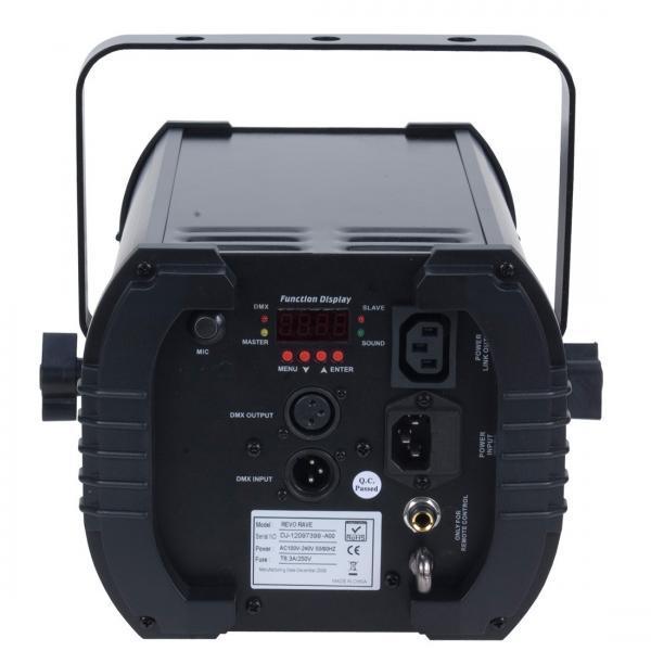 ADJ REVO 4 LED DMX, tehokas LED valoefekti 256 terävällä säteellä! todella näyttävä americandj valoefekti erittäin tehokkailla led säteillä. Soveltuu baariin sekä keikalle. Mitat 312x306x334 mm sekä paino 4.2kg. Voidaan ohjata 4 tai 256 DMX kanavan modessa