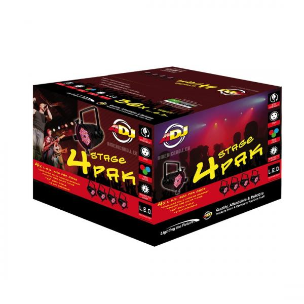AMERICANDJ 4Stage Pak black DMX LED Par 64, 36x 1W, par kannu setti 4 kpl, tehokas LED PAR heitin 25°