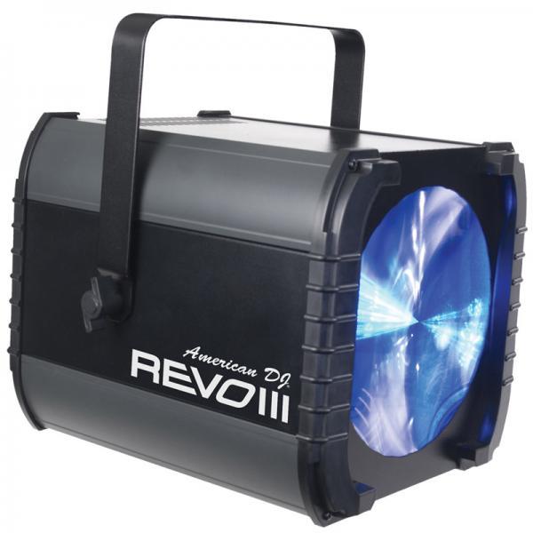 ADJ REVO III RGBW LED DMX, tehokas LED valoefekti 392 terävällä säteellä! 10 DMX kanavaa, upea valoefekti matriisi.  Voidaan ohajata musiikin mukaan, adj AC remotella tai DMX kautta. Mitat 312 x 306 x 334 mm sekä paino 4,4kg.
