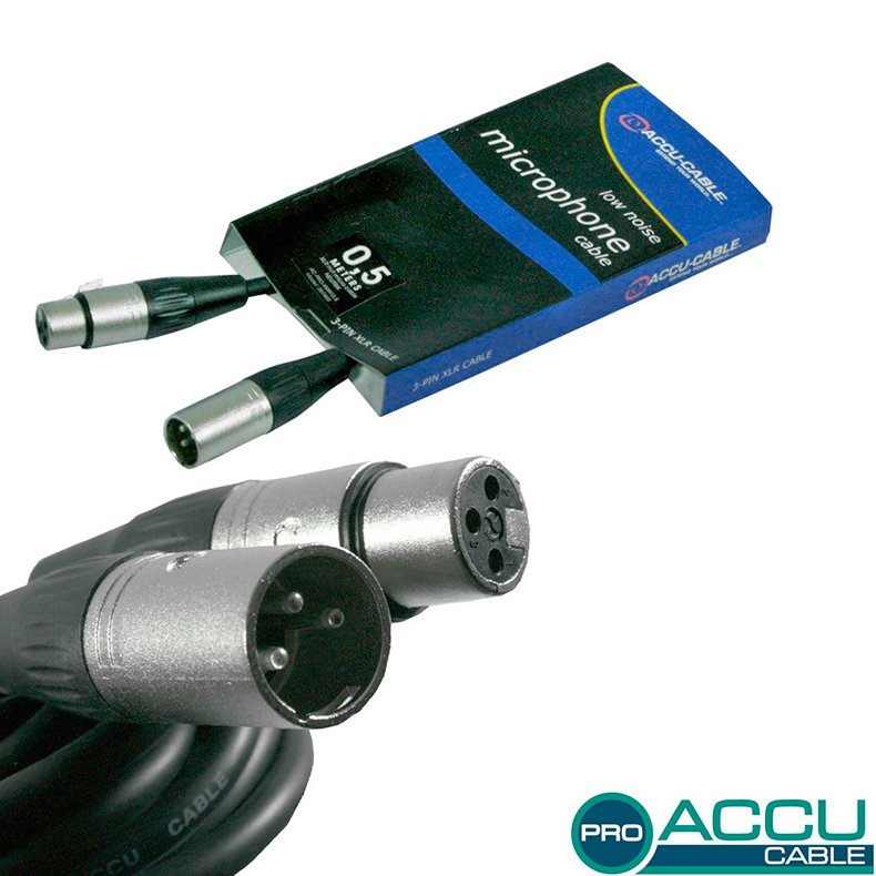 ACCU-CABLE Mikrofonikaapeli 0,5m, XLR-ur, discoland.fi