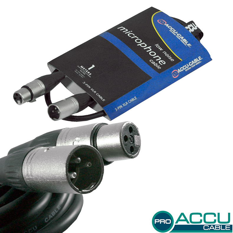 ACCU-CABLE Mikrofonikaapeli 1m, XLR-uros, discoland.fi