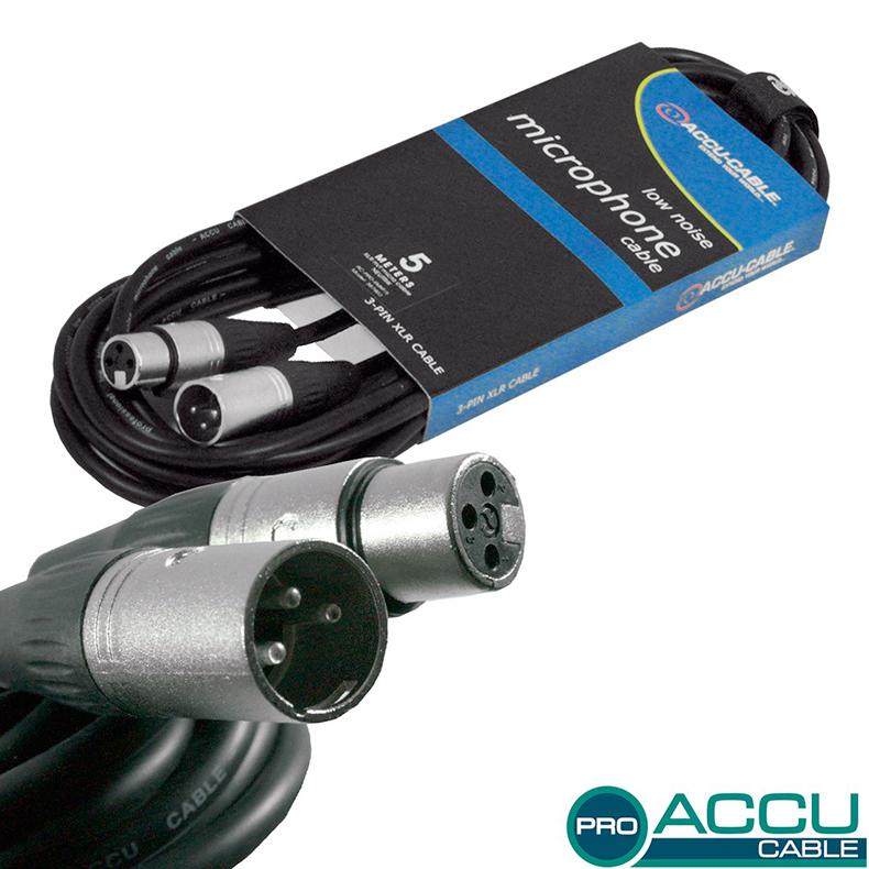 ACCU-CABLE Mikrofonikaapeli 5m XLR-uros-, discoland.fi
