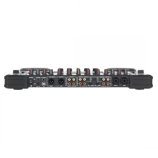 ADJ VMS4.1 Kontrolleri+ Mikseri 4-kanavainen MIDI kontrolleri integroidulla äänikortilla, phono ja line-sisäänmenoilla. Sisältää Virtual DJ LE Softwaren ja on TRAKTOR-yhteensopiva.VMS4 MIDI kontrolleri on huippuluokan yhdistelmä digitaalista 4- kanavaista mikseriä sekä kontrolleria sisäisellä äänikortilla. Tässä laitteessa siis Neljä kanavainen mikseri Phono ja line sisäänmenoilla. Laadukas rakenne tekee tästä optimaalisen tuotteen vaaitiville clubimarkkinoille.