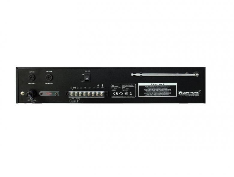 OMNITRONIC EIO3-50III All-in-one amplifier 50W, MP-3 soitin, radio sekä vahvistin! SD+ USB!Tämä laite on tarkoitettu yleisäänentoiston peruslaitteeksi, hotelleihin, ravintoloihin sekä muihin julkisiin tiloihin. <br /> Laitteeseen voidaan kytkeä useita 100V kaiuttimia peräkkäin, jolloin asennus on varsin helppoa!<br /> Voit myös käyttää tavallisia 4-8 ohm kaiuttimia!<br /> Laitteen Soitin toistaa myös musiikkitiedostoja DVD levyiltä. <br /> Sisäänrakennetulla virittimellä saat helposti radion kuuluviin laajalla alueella! <br /> Voit myös kytkeä laitteeseen mikrofonin, joten kuulutukset ovat helppoja!