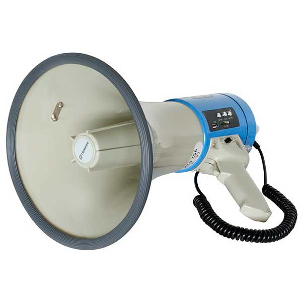 POISTO Skytronic Tehokas Megafoni 30W MP3-soittimella ja sireenillä, erillinen mikrofoni, paikat USB:lle ja SD-muistikorteille, joissa voi olla musiikkia tai puhetta. Powerful Megaphone 30W with MP3 player and sirene USB/SD. Soveltuu variksenpyyntiin! Mitat 355 x 230mmø  sekä paino 1.35kg.