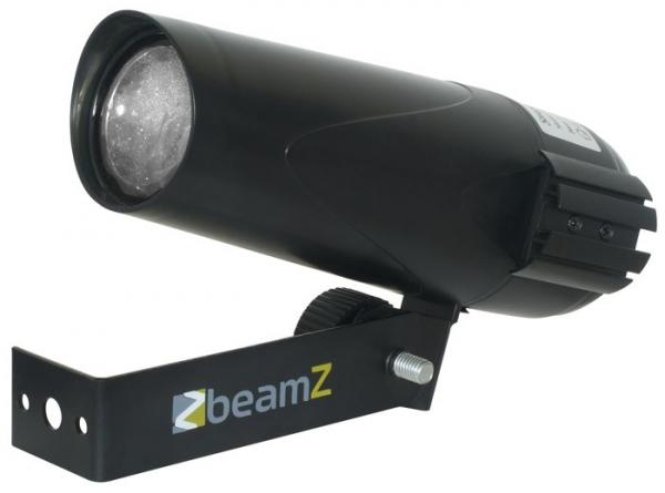 BEAMZ LED Pinspot PST 6W valkoinen LED 8° Pieni ja tehokas LED-spotti. Peilipallospotti, Small and powerful LED Spot! Todella pieni valkoisella Ledillä varustettu kapeakiila spotti.Mitat 215 x 100 x 95mm sekä paino 0,5kg.