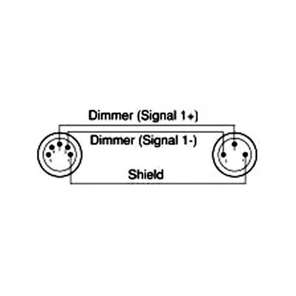 ACCU-CABLE DMX-adapterikaapeli 0,2m, 3-napa uros - 5-napa naaras, 110 Ohmin impedanssilla. Aito Accu-Cable AC-DMXT/3M5F kestää käytössä. ACCU DMX adapteri DMXC-02