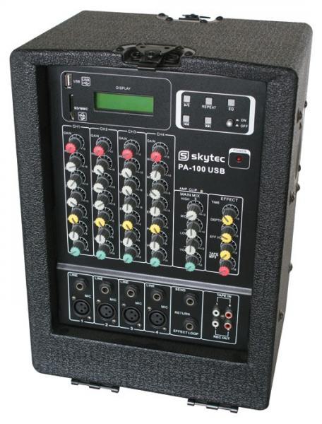 SKYTEC PA-100 USB Siirrettävä kaiutinjärjestelmä 4-kanavaisella mikserillä ja SD/USB-soittimella, max teho 600W! Voit kiinnittää mikrofonin, CD-soittimen tai MP3-soittimen linjasisäänmenoon RCA-liittimillä. Tuote sopii loistavasti vaikka kokoustilaan tai myyntikonsultille, eli sellaiseen käyttöön, jossa tarvitaan siirrettävää järjestelmään. Laitteessa USB-tikulta tai SD-kortilta toimiva soitin.Kevyt kuljettaa, paino vain 33kg. mitat 400 x 285 x 210mm koko boxi.