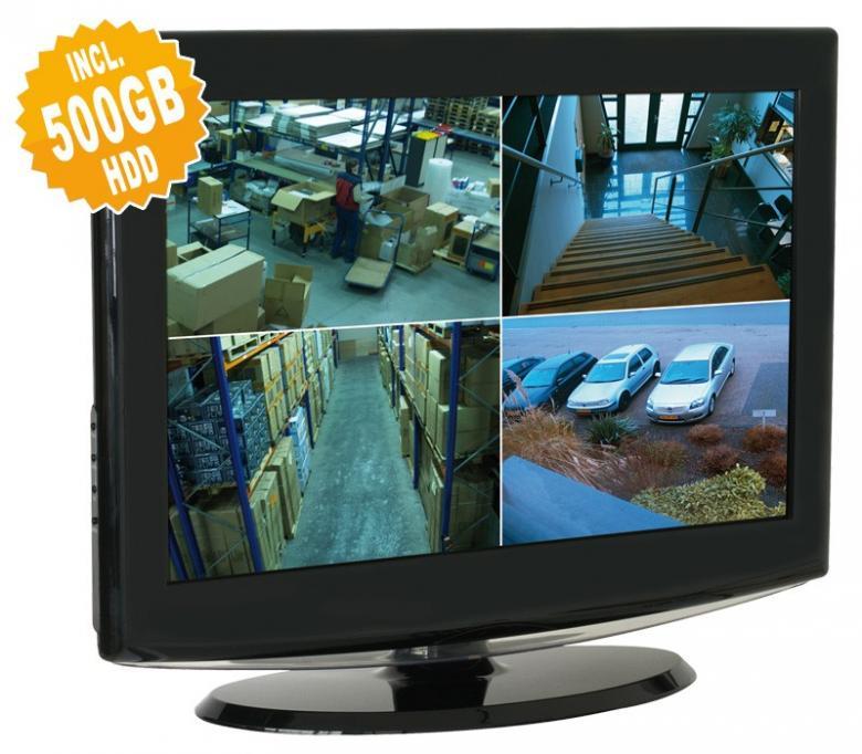 SKYTRONIC Valvontakamera paketti sis. 4x kamera (IP44), 4x tallentavaa kanavaa sekä 500GB tallennin!DVR& 4 CMOS camera kit with 500GB HDD sekä 19