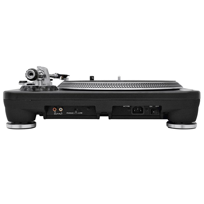 OMNITRONIC DD-5220L Suoraveto DJ-levysoitin PRO. 33 1/3, 45 ja 78 rpm. Markkinoiden nopeimpia levysoittimia soittimia. Tuote toimitetaan ilman Äänirasiaa! Kolme nopeutta 33 1/3, 45 and 78 RPM. Taaksepäin soitto. Äänivarren korkeuden säätö. Nopeudensäätö Pitch ± 10 % to ± 20 % and ± 50%. Start sekä Pysäytysnopeus erikseen säädettävissä. Anti Skating säätö. Mitat 450 x 350 x 160 mm sekä paino 11.00kg.