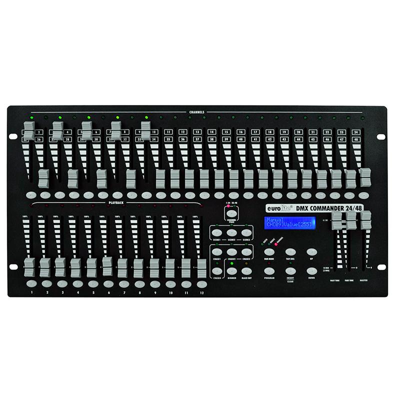 EUROLITE DMX Commander 24/48 valo-ohjain helppokäyttöinen DMX-ohjain, 48 kanavaa ohjattavissa, 24 faderia kahdella sivulla. RDM yhteensopiva. 19
