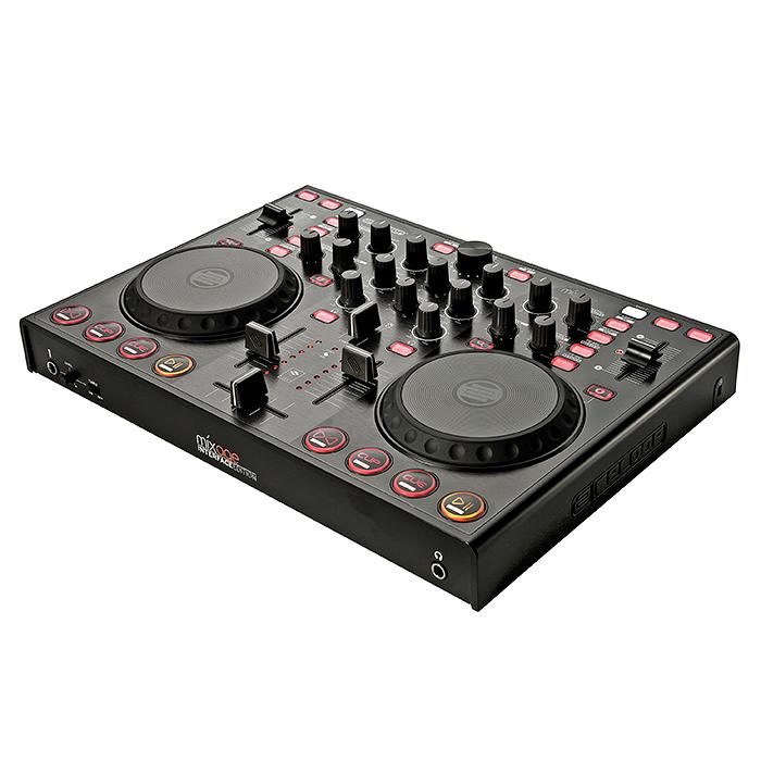 RELOOP MIXAGE IE DJ-kontrolleri varustettu interfacella TRAKTOR LE softalla. Laadukas traktor kontrolleri, jolla sinun helppo miksata ja synkata ääniraitoja. Enää et tarvitse kahta CD tai vinyyli soitinta miksaukseen!Reloopin kontrollerin avulla voit miksata kahta dekkiä yhdellä laitteella. Kompakti je helposti mukana kulkeva kontrolleri on helppo yhdistää tietokoneeseesi. Useilla näppäimillä ja ohjaimilla varustetun mikserin käyttömukavuus on parempi kuin näppäimistön ja hiiren käyttäminen. Tässä tuotteessa Interface, esikuuntelu sekä mikkiliitäntä.Kaikenkaikkiaan 54 MIDI kontrollia. Mitat 370 x 44 x 258 mm paino 1.9kg.