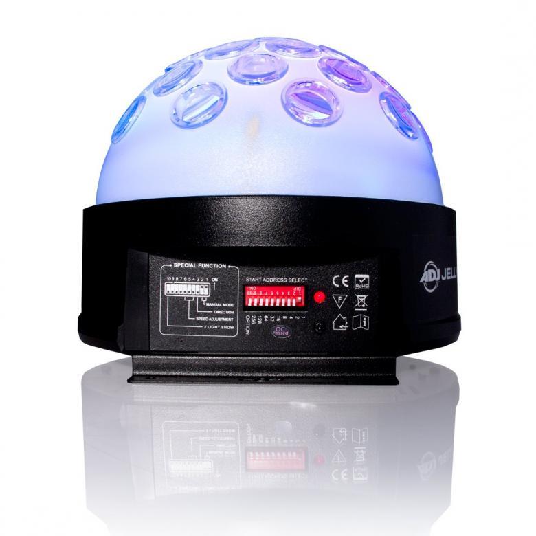 ADJ Jelly DOME LED DMX512 valoefekti läpikuultava. Todella tehokas flower 2x9W ledeillä. Pyörivä sekä läpinäkyvä kupu. Moonflower dome Multicolour LED valoefekti DMX ohjattava! Mitat 210x210x179mm sekä paino 2,0kg.