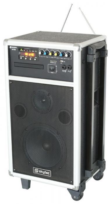 SKYTEC ST-100 Siirrettävä aktiivikaiutinjärjestelmä akkukäyttöinen,CD/MP3/USB/SD.Totaalisen langaton järjestelmä. Akkukäyttöinen CD/MP3 soittimella varustettu siirrettävä setti. 8