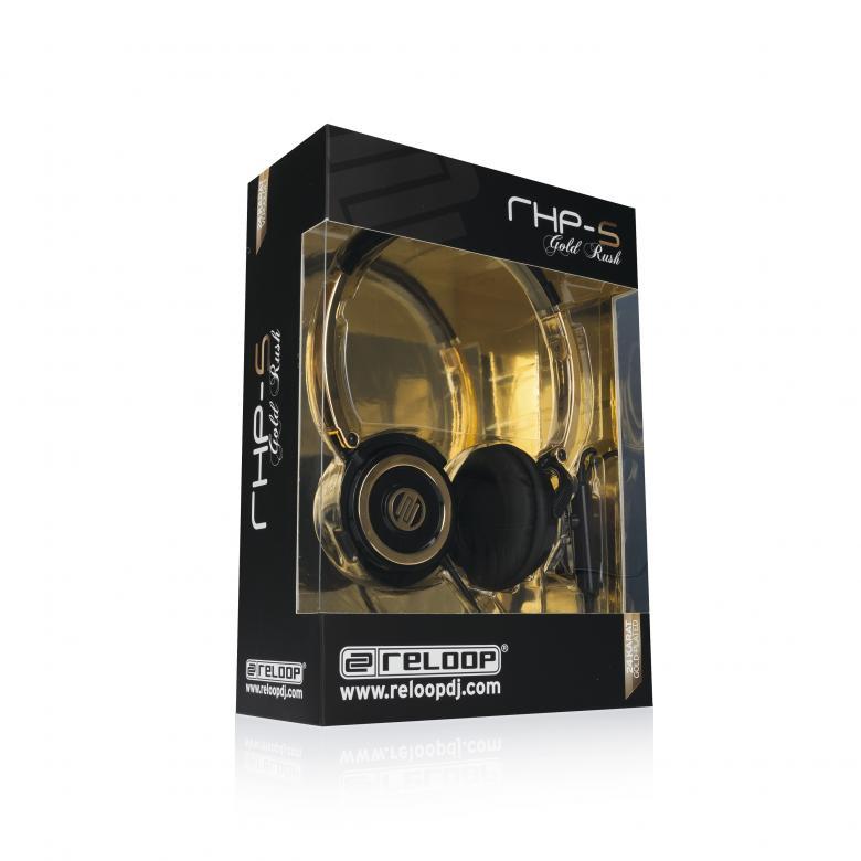 RELOOP RHP-10 GOLD RUSH Huippu DJ-kuulokkeet! Loistavalla Reloopin laadulla ja tukevalla rakenteella varustetut DJ-kuulokkeet käyttöön kuin käyttöön. Reloop ylpeänä esittelee RHP-10 kuuloke sarjan. Kompakti sekä kevyt, mutta siitä huolimatta jykevä rakenne, laadukas soundi ja myös hinnaltaan sopivat. Pyörivät kuulokkeet sekä taitettava muotoilu helpottavat kuljetusta. Tässä kuuloke mallissa on laadukkaat elementit, jotka tuottavat upean bassotoiston sekä heleät diskantit.Mukana laadukas pussi, varapadit, 6,3 adapteri sekä kierrejohto.Testasimme kuulokkeet ja lähin verrattava tuote on Pioneerin HDJ-1000, jonka kanssa tämä on samalla viivalla. teho: 3000 mW. kytkentä: 3.5/6.3 mm jack.johto: 4 m (spiral). paino: 246 g.