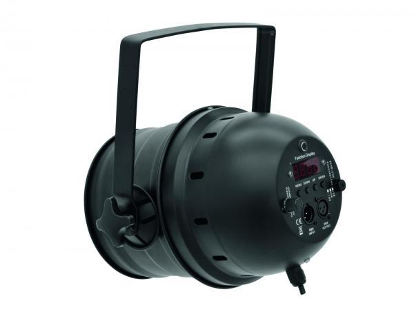 EUROLITE LED PAR-64 RGB Spotti, Tyylikäs ja tehokas LED-heitin, suosituin malli kokoluokassaan, soveltuu bändeille, discoon, julkisiin tiloihin! LED spot 183x 10mm 10°. DMX ohjattava LED-heitin 5-kanavaa. RGB multi värit miksattavissa. Automatiikalla voi säätää värien feidaus aikaa. Sisäänrakennettu mikrofoni. Master/ slave toiminne yhdenmukaiseen vaihtoon. Voidaan valita LCD näytöstä asetukset. Vastaavuus noin 250W halogeenia (ei punainen).