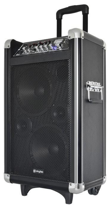SKYTEC ST-075 USB/SD/VHF Siirrettävä aktiivi 250W kaiutinjärjestelmä akkukäyttöinen USB soittimella ja langattomalla lupavapaalla mikrofonilla sekä bluetooth vastaanotolla.! Mitat 245 x 370 x 665mm sekä paino 16.9kg.