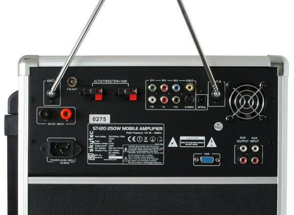 SKYTEC ST-120 Siirrettävä Aktiivikaiutinjärjestelmä akkukäyttöinen, DVD/CD/USB/SD/VHF. Langaton lupavapaa käsimikki sekä langaton päämikki! Totaalisen langaton järjestelmä. Akkukäyttöinen DVD/CD/MP3 soittimella varustettu siirrettävä setti. 8