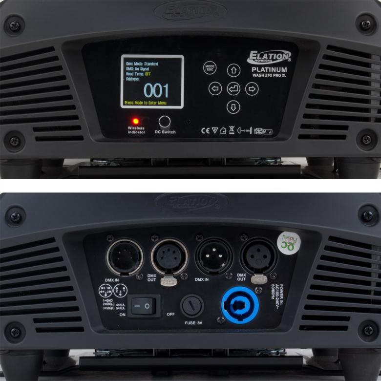 ELATION Platinum Wash ZFX ProXL Moving head 37kpl X 10W OSRAM HO Quad Color RGBW LED. Huipputehokas led moving head varustettuna parhailla mahdollisilla LEDeillä. OSRAM QUAD neliväri ledit ja käsittämätön teho ammattikäyttöön. Zoom 9°- 43°, Alue juoksutus, Pikseli juoksutus. Valoteho vastaa 1200W kaasupurkauslamppua. Mitat 494x335x594 sekä paino 25,00kg.