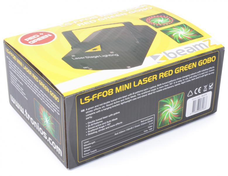 BEAMZ LS-FF08 Pieni Laser valoefekti. Red-Green+Gobo Monipiste Laser Goboilla, Vihreä ja punainen, Multipoint Laser - Red/Green 170mW! - Luokka 3B. Punainen laser 150mW. Vihreä laser 50mW. Säädettävä moottori. Automaatti- tai ääniohjaus. Sisäänrakennettu tuuletin. Mukana virtalähde.Kolmijalka on mukana! Gobo kuviot+ säteet.