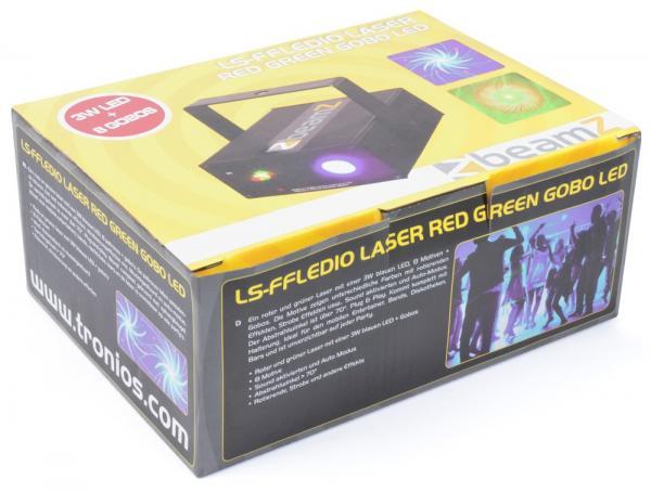 BEAMZ LS-FFLED10 Laser monipiste efekti. Red-Green+Gobo+LED Monipiste Laser Goboilla, Vihreä ja punainen, Multipoint Laser - Red/Green+ LED blue 150+ 75mW!Luokka 3B. Punainen laser 150mW. Vihreä laser 75W. Automaatti- tai ääniohjaus. Sisäänrakennettu tuuletin. Mukana virtalähde. Kolmijalka on mukana! Gobo kuviot+ säteet+ LED 3W.