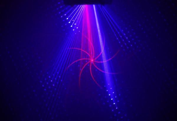 BEAMZ LS-RB11 Laser Red Blue Gobo DMX, Huikean TEHOKAS sininen ja punainen laser, antaa säteitä sekä kuvioita. Red 150mW // Blue 300mW. Automaatti- tai ääniohjaus, DMX ohjaus 10-kanavaa.