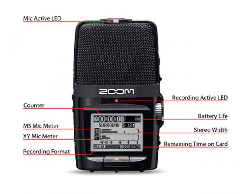 ZOOM H2N Kämmenkokoinen tallennin, Steinberg WaveLab LE-editointisofta, 20h käyttö kahdella AA paristolla! todella näppärä ja taskukokoinen!H2n sisältää sisäänrakennetun kaiuttimen, isomman ja selkeämmän näytön, parannellun käytettävyyden, digitaalisen tasonsäädön, toimivan automaattigain-säädön, viisi mikrofonikapselia mahdollistavat neljä erilaista suuntakuviota MS-stereosta surroundiin, 20 tunnin käyttöajan kahdella AA-sormiparistolla, mahdollisuuden langallisen kaukosäätimen käyttöön ja Steinberg WaveLab LE-editointisoftan. Uusi Data recovery –toiminto suojelee äänityksiä äkillisiltä virtakatkoilta. Mukana tulee myös 2 gigan SD-muistikortti. Tarjolla on siis koko joukko parannuksia jo entuudestaan hyväksi havaittuun tuotteeseen.
