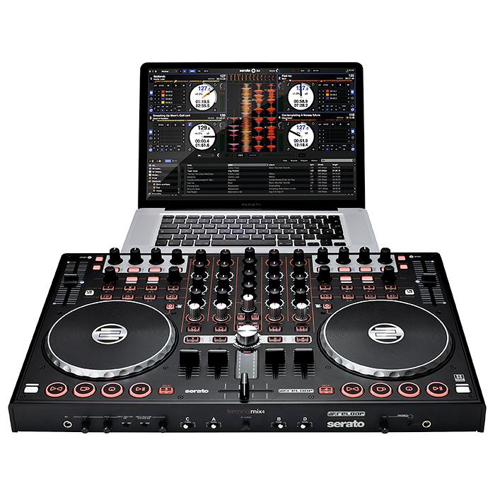 RELOOP Terminal Mix 4 SERATO DJ FULL Controller with Serato DJ software & Serato Video manipulation software. Tässä versiossa täysi Seraton DJ versio sekä ladattava Serato video!Enää et tarvitse kahta CD- tai vinyylisoitinta miksaukseen! Reloopin kontrollerin avulla voit miksata neljää dekkiä yhdellä laitteella. Kompakti je helposti mukana kulkeva Terminal Mix 4  on helppo yhdistää tietokoneeseesi.Useilla näppäimillä ja ohjaimilla varustetun mikserin käyttömukavuus on parempi kuin näppäimistön ja hiiren käyttäminen. Tuotteessa on Interface, esikuuntelu sekä mikkiliitäntä.Saat myös liitettyä levysoittimen tai cd soittimen kontrolleriin. kaiken kaikkiaan 111 MIDI kontrollia.Mitat 515 x 44 x 320 mm paino 5,4kg. runko metallia!