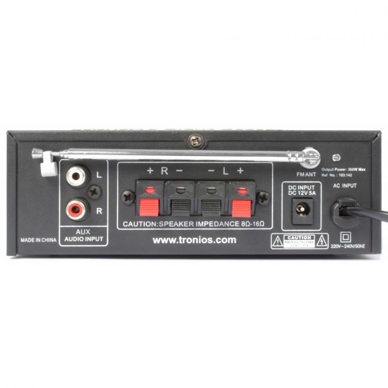 SKYTRONIC AV-360 Mini Viritinvahvistin 2x 20W, MP3-soittimella, USB-portilla ja SD-korttipaikalla, FM-viritin, kauko-ohjaimella. Yksi audio sisäänmenoa RCA-liittimillä (esim. DVD, CD, MP3). Basso- ja diskanttisäädöt etupaneelissa. Kaiuttimille pikaliittimet. Etupaneelissa ohjaus MP3-soittimelle. 12 voltin 5A teho. Erittäin pieni, 145 x 160 x 55mm, paino 950g