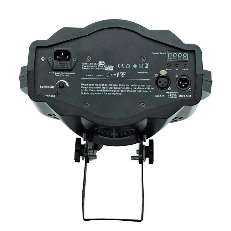 EUROLITE TSL-600 COB 90W LED DJ-scanneri, valokeila 14°, 7 väriä + valkoinen, 7 pyörivää goboa + auki, strobe-efekti, elektroninen himmenin, DMX, stand alone tai musiikkiohjaus. Scanneri tehokkaalla 90W LEDillä. Seitsemän väriä, seitsämän pyörivää goboa, stroboefekti 1-10 välähdystä sekunnissa.  DMX-ohjattava tai yksikseen toimiva, sisäänrakennettu mikrofoni musiikkiohjausta varten.
