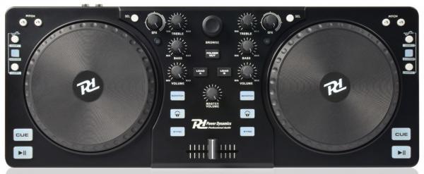 POWERDYNAMICS PDC-10 DJ-kontrolleri Mixvibes softalla sekä  interfacella eli esikuuntelu sekä mic liitäntä!Todella näppärä pikku kontrolleri musiikin miksaamiseen. Mukana Mixvibes ohjelmisto. Voit miksata kappaleita helposti myös ilman kuulokkeita SYNC toiminnetta käyttämällä. Tämän laitteen otat helposti mukaan bileisiin.. Kytket vain kiinni tietokoneeseen ja voit soittaa musiikkia DJ tyyliin. Toimii PC ja MAC.