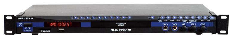 VOCOPRO DVG-777K III Pro karaoke USB DVD soitin CD+G Karaoke Player, Multiformaatti Karaoke-soitin. Moniformaattisoitin, lukee DVD-, CD-, CD-G-, MP3-, MP4-, HDCD- ja VCD- sekä MP3+G tiedostoja.USB- SD- ja MiniSD-korttitoisto. Single Mode-toiminto pysäyttää toiston valitun raidan. lopussa.Soittoraidan suoravalinta. USB-, SD- ja MiniSD-korttitoisto. FAT/FAT 32-formaatti-yhteensopiva kovalevy (toiminta omalla vastuulla, ei voi luvata yhteensopivuutta)