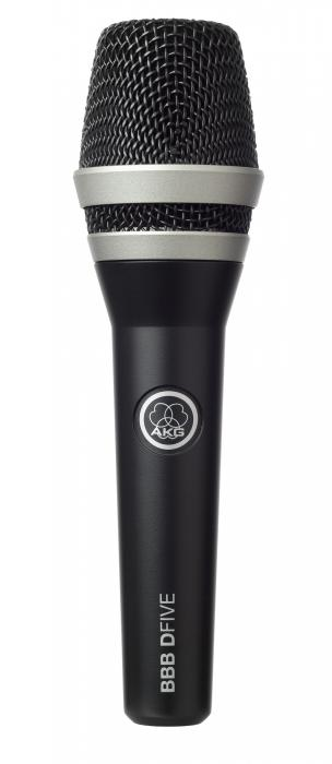 AKG BBB DFive Erityisesti Beatbox, Räp sekä vokaaleille. Dynaaminen ammattitason mikrofoni. Extremely rugged vocal/speech microphone, Tässä mallissa on sisäänrakennettu tuulisuoja ja siksi soveltuu koville äänenpaineille. Tuotteessa on laadukas D5 kapseli. Polar pattern supercardioid, Frequency range 70 Hz to 20 kHz , Sensitivity 2.6 mV/Pa (-52 dBV), Max. SPL 147/156 dB SPL (for 1% / 3% THD), Equivalent noise level (IEC 60268-4, A-weighted) 18 dB-A, Impedance <= 600 ohms, Recommended load impedance >= 2000 ohms , Connector 3-pin XLR, Finish matte grayish blue, Dimensions length: 185.2 mm (7.3 in.); diameter: 51 mm (2 in.), Net weight 340 g (12 oz.)
