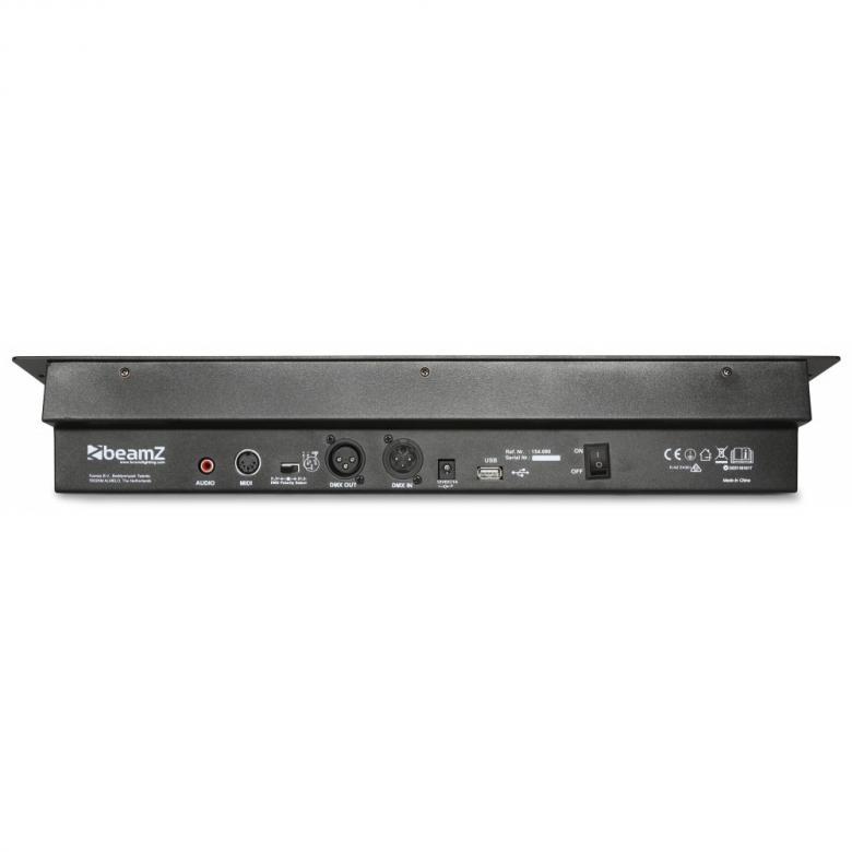 BEAMZ DMX-240  DMX valo ohjain 240 kanavaa, Tällä voit ohjata helposti LED valoja, scannereita ja jopa pieniä moving headeja. Tämä vastaa operator 192 ohjainta+ lisäksi 4-kanavaa kiertosäätimillä panin ja tiltin säätämiseen. Controller 240-Channel, Kompakti DMX valo-ohjain, 240-kanavaa! Mitat 482 x 132 x 80mm sekä paino 2,5kg.