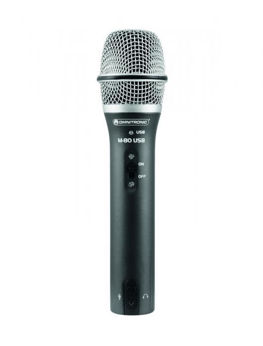 OMNITRONIC M-80USB Dynaaminen USBmikrofoni, joka soveltuu karaokeen ja äänitykseen, suoraan USB liitettävä sekä XLR live käyttöön! Toimii myös sing-on karaokessa!