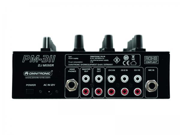 OMNITRONIC PM-311 DJ mikseri 3x phono, 3x line sekä aux sisäänmeno! Uusi 3- kanavainen DJ mikseri edulliseen hintaluokkaan. Nykyaikainen muotoilu, uutuus kesä 2013!Mitat 260 x 172 x 78 mm sekä paino 1,5kg.